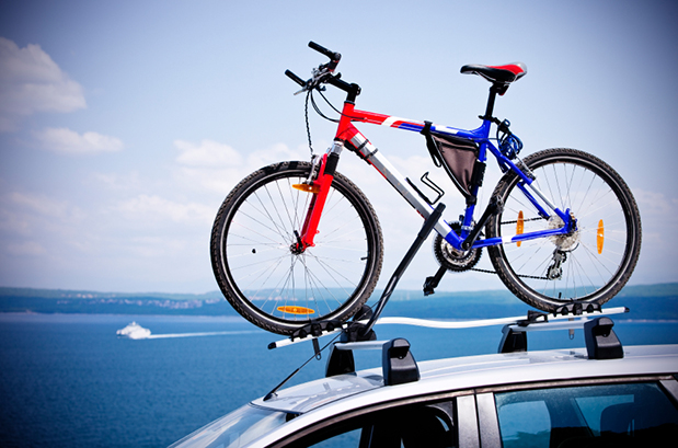 Mountainbike on bike roof carrier