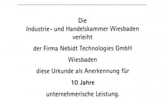 chamber of commerce 10 years NEBIDT