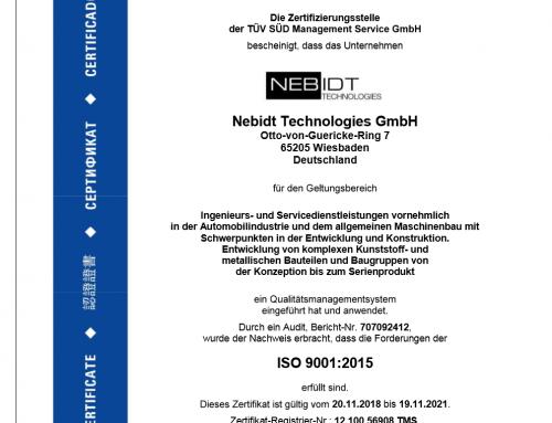 Erfolgreiche TÜV-Zertifizierung nach ISO 9001:2015