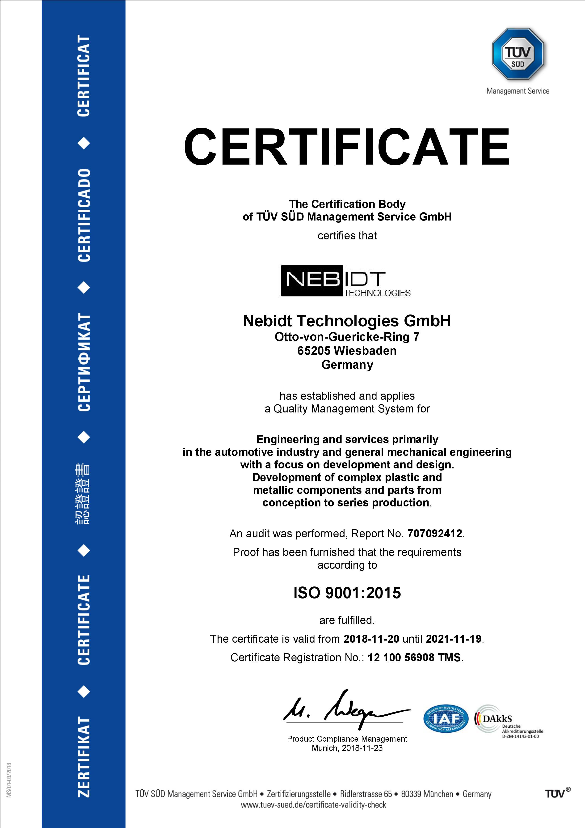 ISO audit certificate